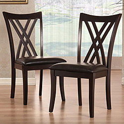 Almeria Espresso Double X-back Faux Leather Chairs (Set of 2).