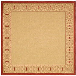 Indoor/ Outdoor Oceanview Natural/ Red Rug (7'10 Square)