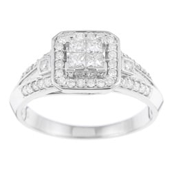 10k White Gold 1/2ct TDW Diamond Engagement Halo Ring (H-I, I1-I2)