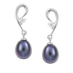 Sterling Silver Cubic Zirconia and Black Freshwater Pearl Earrings