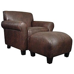 Mira Brown Leather Arm Chair and Ottoman.