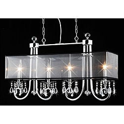 4-light Black Shade and Clear Crystal Chandelier