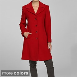 Larry Levine Women&#39;s Notch Collar Classic Wool Coat