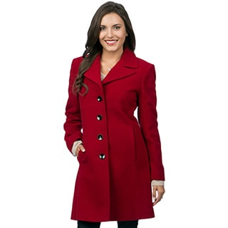 Larry Levine Women's Notch Collar Classic Wool Coat