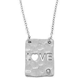 Sterling Silver Diamond Accent 'Love' Necklace