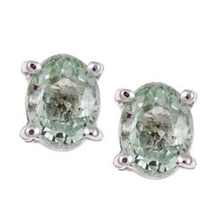 Sterling Silver Green Sapphire Stud Earrings