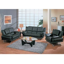 Black 3-piece Leather Sofa Set