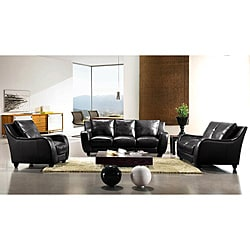 EuroDesign Black Leather 3-piece Sofa Set