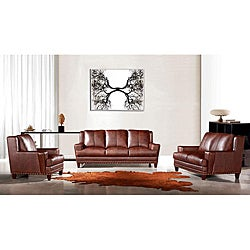 EuroDesign Brown Leather 3-piece Sofa Set
