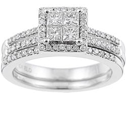 Eloquence 10k White Gold 3/4ct TDW Diamond Bridal Ring Set (K-L, SI1-SI2)