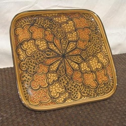 Handcrafted Clay Honeycomb Design Square Platter (Tunisia)