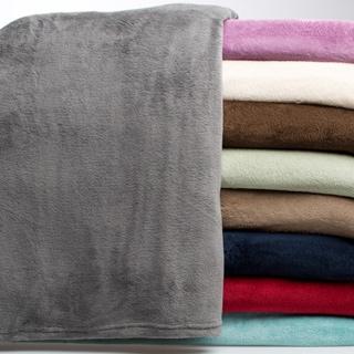 All Seasons Solid Microplush Knit Hem Edging Blanket