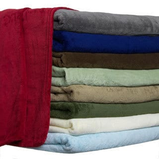 All Seasons Solid Microplush Knit Hem Edging Blanket