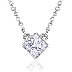 14k Gold 1/3ct TDW Princess-cut Diamond Solitaire Necklace (H-I, I1)