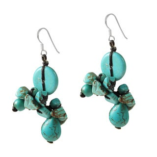 Sterling Silver Turquoise Cluster Drop Earrings (Thailand)