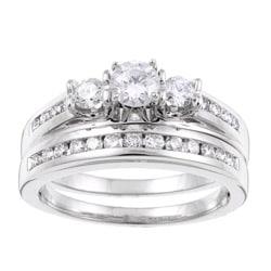 14k White Gold 1ct TDW Certified Diamond Bridal Ring Set (F-G, I1-I2)