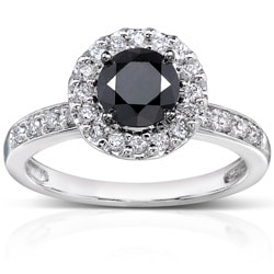 14k White Gold 1ct TDW Black and White Diamond Halo Ring