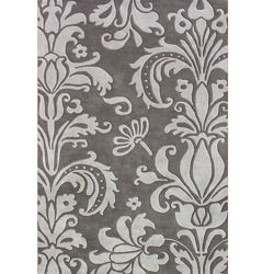 Hand-tufted Metro Foral Grey Wool Rug (8' x 10')