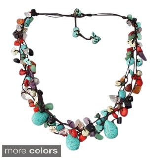 Cotton Rope Multicolor Gemstone Teardrop Necklace (Thailand)