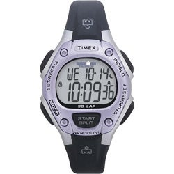 Timex Women's T5E971 Ironman Traditional 30-Lap Black/Silvertone/Purple Watch