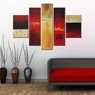 'Hand-painted Abstract' 5-piece Gallery-wrapped Canvas Set