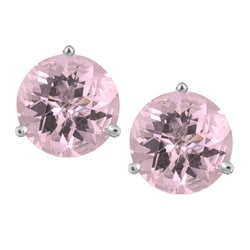 14k White Gold Pink Amethyst Martini Stud Earrings