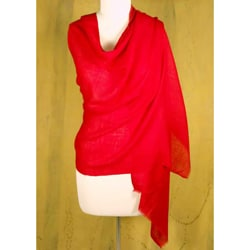 Silk and Cashmere Wool 'Red Romance' Shawl (India)