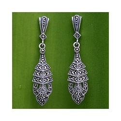 Sterling Silver Marcasite &#39;Thai Glamour&#39; Drop Earrings (Thailand)