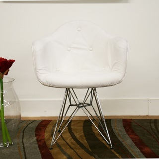 Lia White Tufted Faux Leather Arm Chair