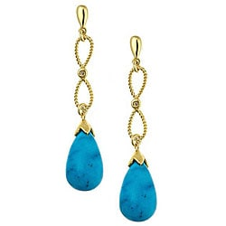 D'Yach Gold over Silver Turquoise Drop Earrings