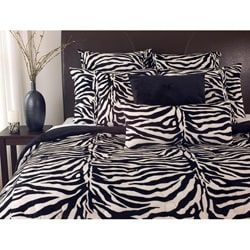 Black/ White Zebra Print Twin-size Microplush 2-piece Comforter Set