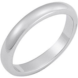 White Rhodium Overlay Terete Tapered Band (3 mm)