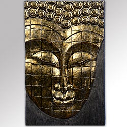 Rain Tree Wood Antique Gold Buddha Face Wall Hanging (Indonesia)