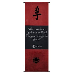 Cotton Truth Symbol and Buddha Quote Scroll (Indonesia)