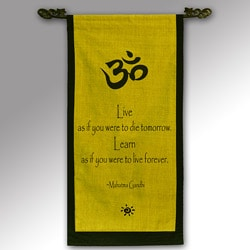 Cotton Om Symbol and Mahatma Gandhi Quote Scroll (Indonesia)