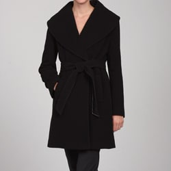 Larry Levine Women&#39;s Belted Wool Wrap Coat