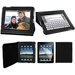 Apple iPad Leatherette Folding Stand Case and Screen Protector