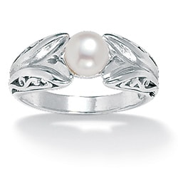 Sterling Silver White Freshwater Pearl Ring (6 mm)