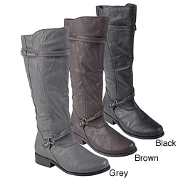Journee Collection Women&#39;s Buckle Accent Tall Boots