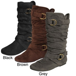 Glaze by Adi Women&#39;s Slouchy Ring Detail Microsuede Boots