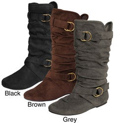 Glaze by Adi Women's Slouchy Ring Detail Microsuede Boots
