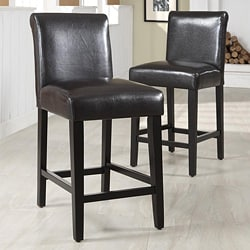 ETHAN HOME Bennett Brown Faux Leather Barstools (Set of 2)