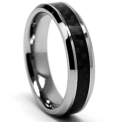 Women&#39;s Tungsten Carbide and Black Carbon Fiber Ring (5 mm)