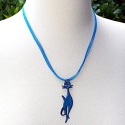 Enamel Precious Purrs Blue Cat Necklace (Chile)