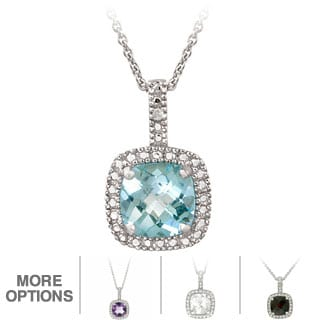 Glitzy Rocks Sterling Silver 2.35 CTW Gemstone and Diamond Accent Square Necklace