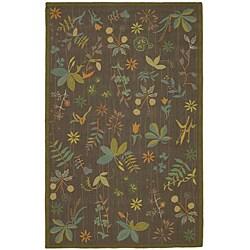Martha Stewart Grove Twig Olive Green Wool Rug (3'9 x 5'9)