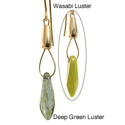 14k Gold Fill 'Gorgeous Green Luster' Czech Glass Drop Earrings