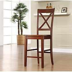 Cedar Hills X Back Mahogany 24 Inches Counter Height Stool