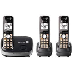 KX-TG6513B Expandable Digital Cordless Phone w/ 3 Handsets (Refurbished)