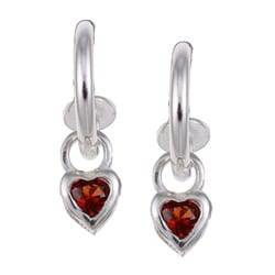 Sterling Essentials Sterling Silver Garnet Heart Hoop Earrings